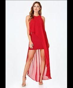 NWT Bebe Red Hi-Lo Sheer Overlay Dress